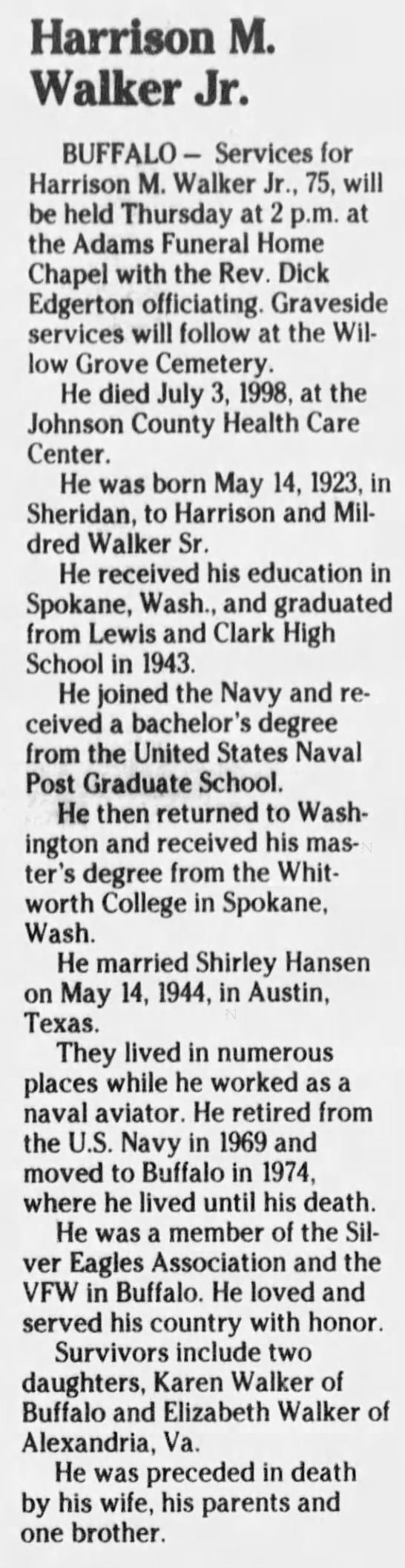 Obituary for Harrison M. Walker, 1923-1998 (Aged 75) -