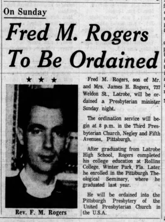 Fred Rogers ordained a minister -