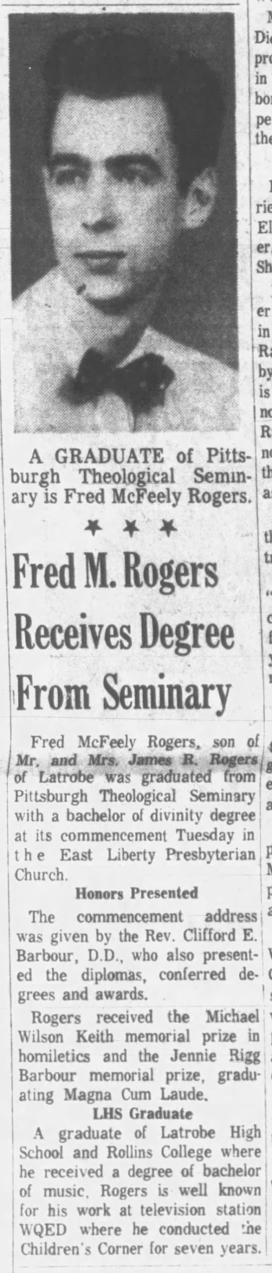 Fred Rogers graduates from Pittsburgh Theological Seminary. -