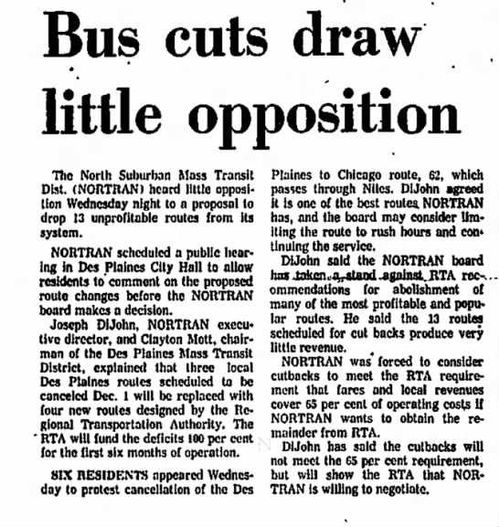 bus cuts in Des Plaines, IL 1975 -