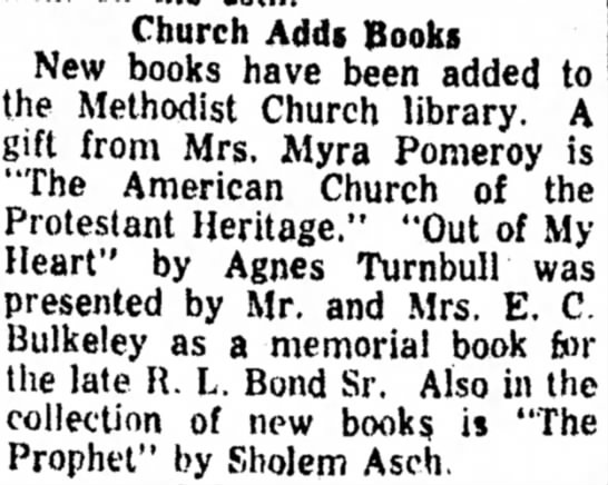 Book donated to church February 17, 1959 -