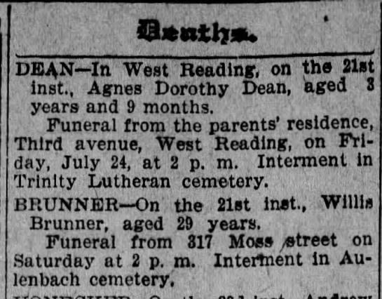 Willis Death notice 1908 -