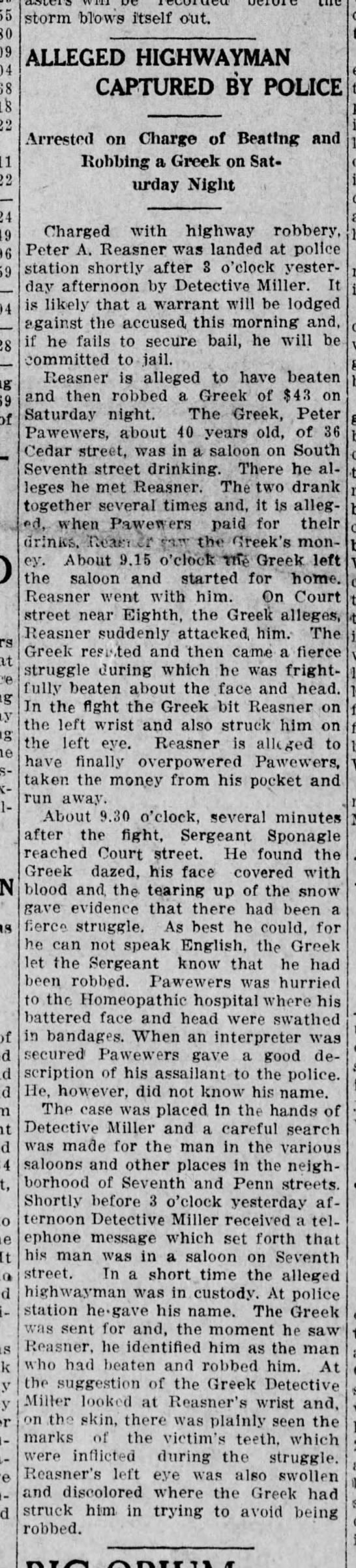 Peter Reasner fights with greek. -