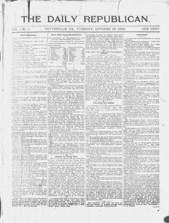 The first issue of The Daily Republican, October 28, 1884 -