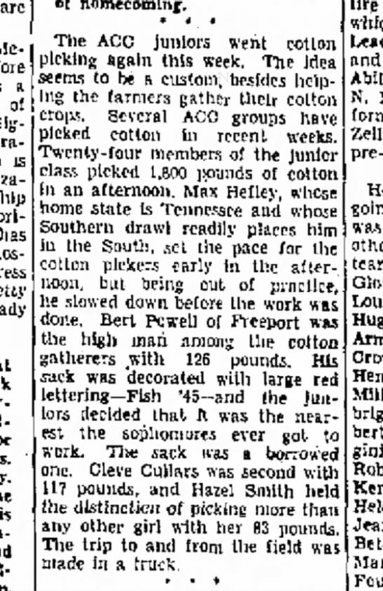 1942 Bert Powell, ACC Junior Cotton Picker - are Mc- before a of Signa f r a - is sororl-...