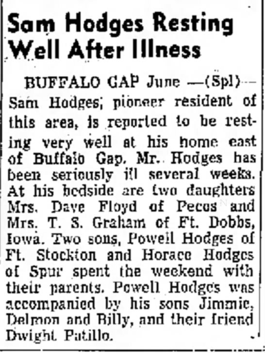 Sam Hodges Resting after Illness -