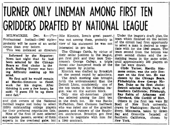 Turner Only Lineman Among First Ten Gridders Drafted By National League -