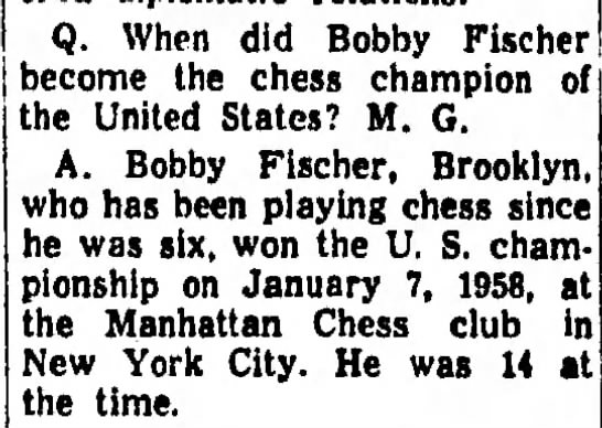 When did Bobby Fischer become the chess champion of the United States? -