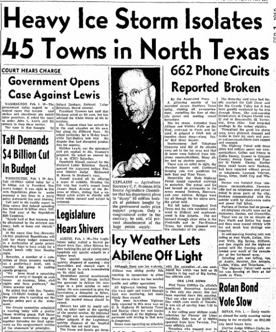 1950 Ice Storm Texas - Tom Malmay - Heavy Ice Storm Isolates 45 Towns in North...
