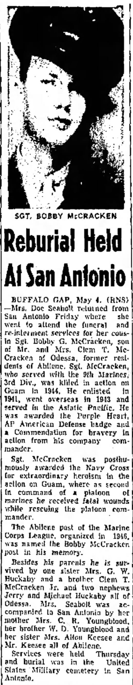 Bobby G. McCracken Abilene Reporter - 5 May 1948. -