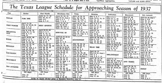 1937 Texas League schedule -