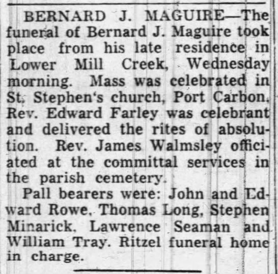 Bernard J Maguire - Funeral Notice -