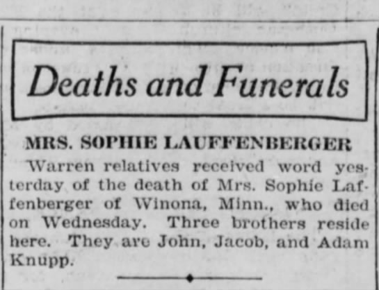 - Deaths and Funerals MRS. SOPHIE LAUFFENBERGER...