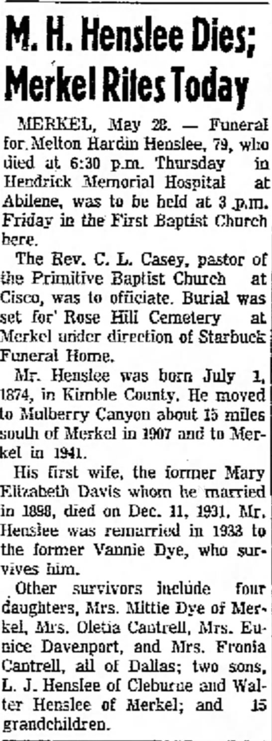 Melton Henslee Obituary; The Abilene Reporter; May 28, 1954 -