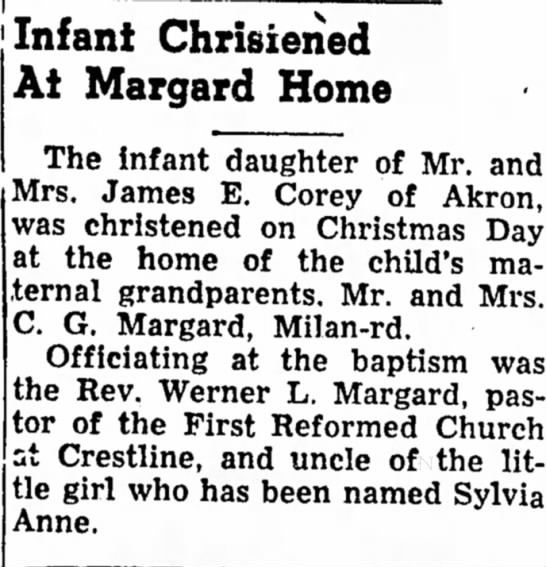 Sylvia Christening - Infant Chrisiened At Margard Home The Infant...