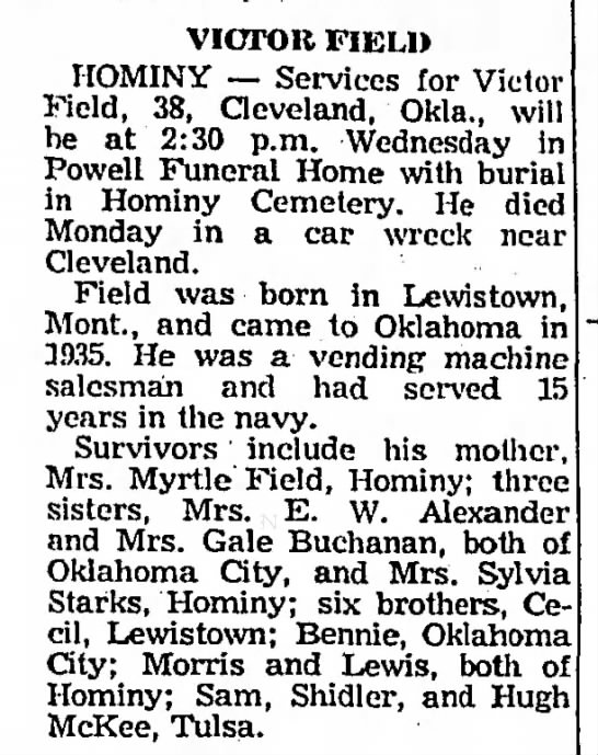Victor Field, 38. Funeral Service. 3 Aug 1965 -