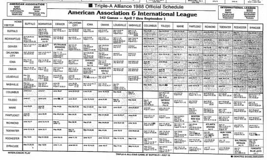 Triple-A Alliance 1988 Official Schedule -