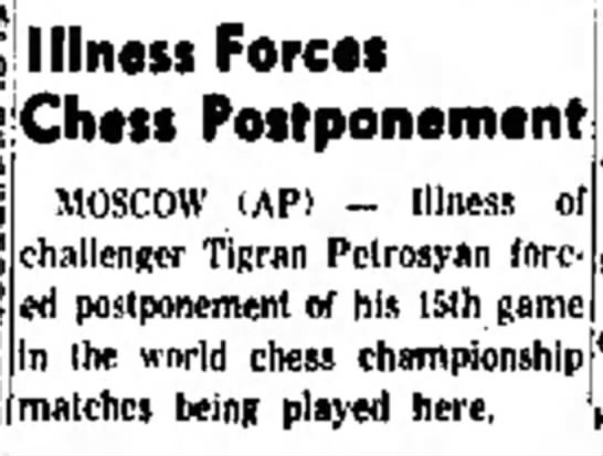 Illness Forces Chess Postponement -