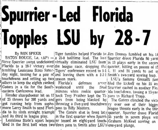 Spurrier-Led Florida Topples LSU by 28-7 -
