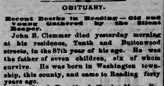 5th Great grandfather, John B Klemmer's obitutary -