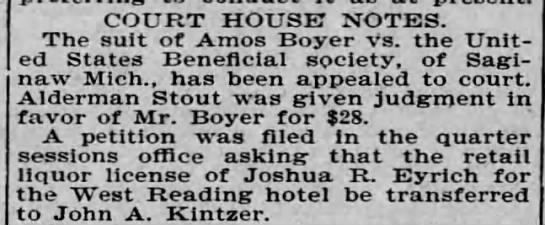 Joshua R Eyrich, West Reading hotel, liquor license, Aug 1900 -