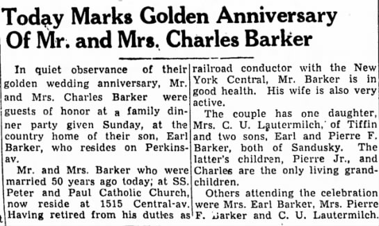 golden anniversary of Charles and Minnie Barker -