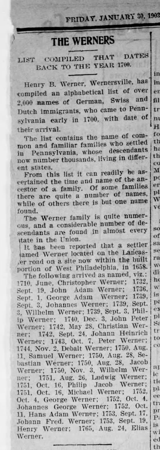 The Werners 1903 -