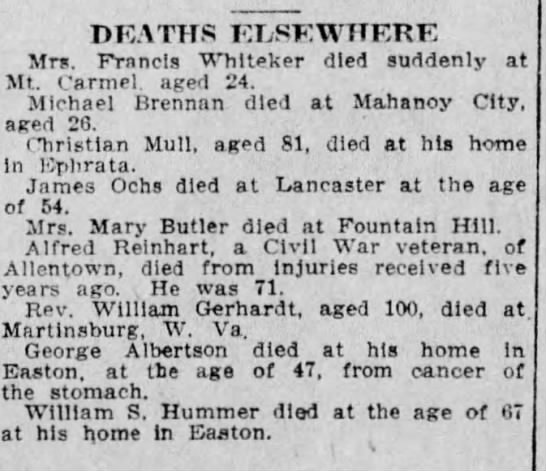 Death Notice of William Gerhardt -