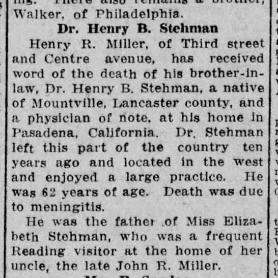 1918 February 25 Death of Henry B. Stehman