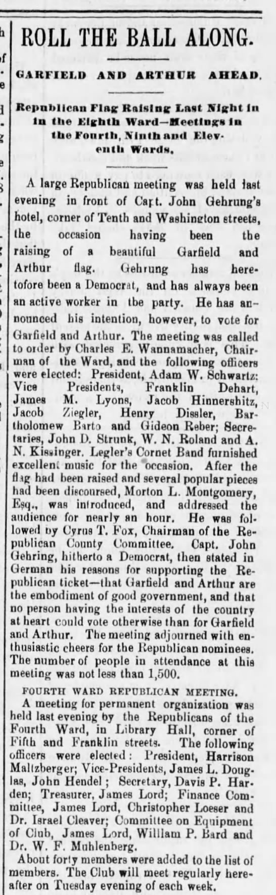 Reading Times Aug 25, 1880  Meeting of Republican Party -