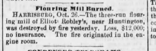 Elliot Robley Mill burns-Reading Times-p1-27 Oct 1880. -