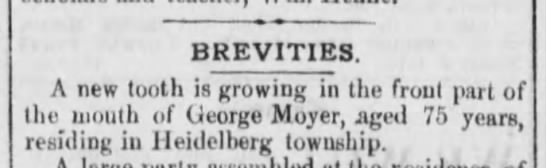 1877-11-06 - George Moyer - Reading Times p 1 Col 3 - Growing new tooth -