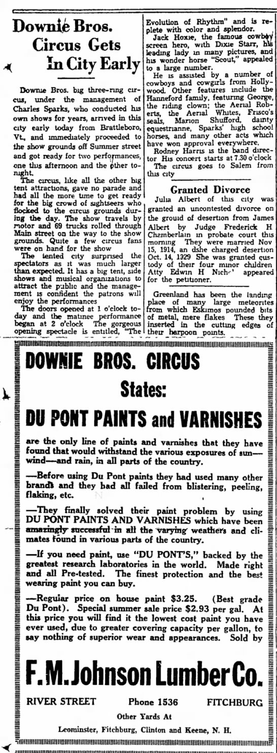 Sparks Paint Ad 7-15-1936 - Downife Bros. Circus Gets ( In City Early Dowme...