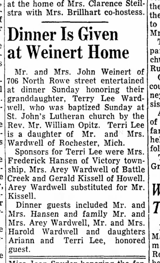 Wardwell Weinert - at the home of Mrs. Clarence Steil- stra with...