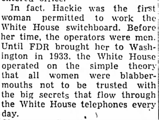 Hackie first woman to work the White House switchboard -