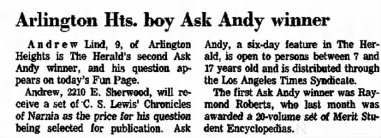 Raymond Roberts my brother 1st Ask Andy winner 11-15-1975 -