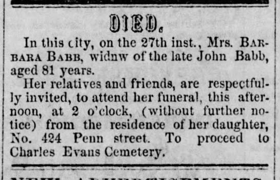 Mrs, Barbara Babb widow of John Babb - Newspapers com