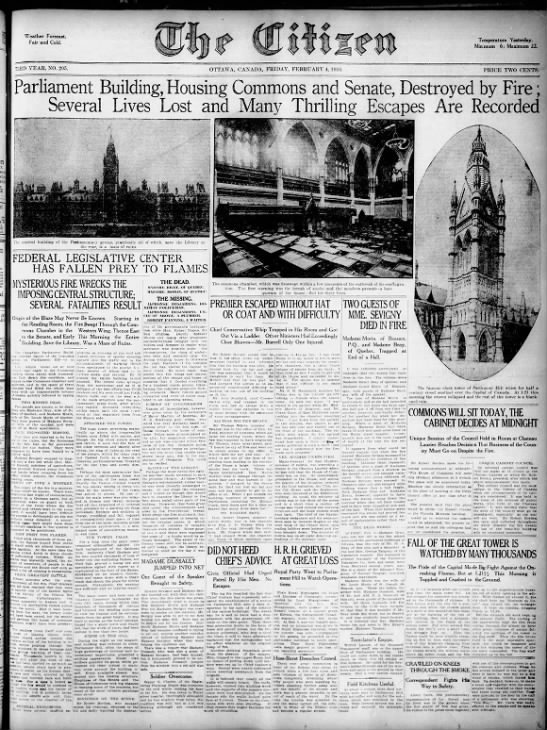 Parliament Building Burns - February 1916 -