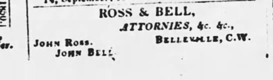 John Bell and John Attornies, Belleville. 21 Sept 1850. -