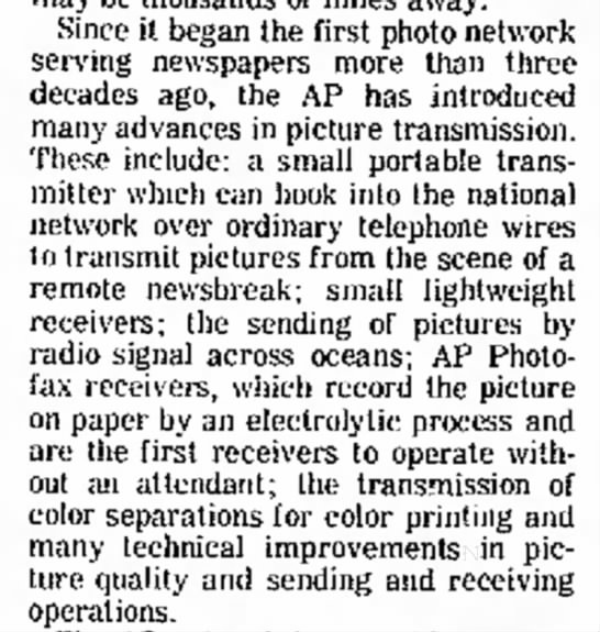 Developments in Wirephoto technology between 1935-1968 -