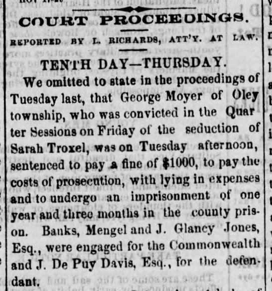 1865-11-17 - George Moyer of Oley Charged foe seduction - Reading Times p 2 col 2 -