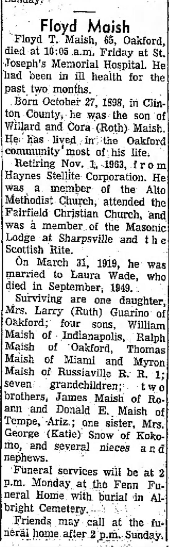 Maish Floyd 1964 Feb 28 Obituar -