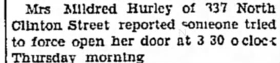 Mrs Mildred Hurley 737 N Clinton St -