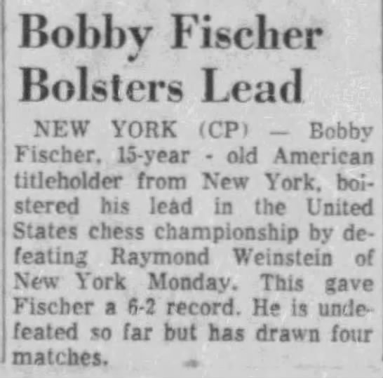 Bobby Fischer Bolsters Lead -
