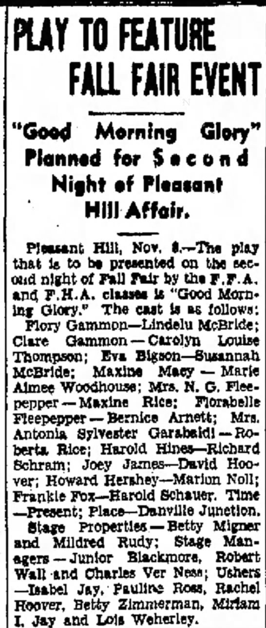 "Marion Noll played ""Howard Hershey"" in play 11/8/1939. -"