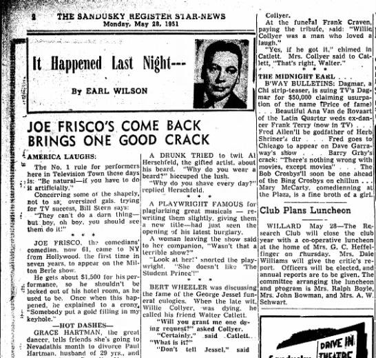 Earl Wilson Jessel story -