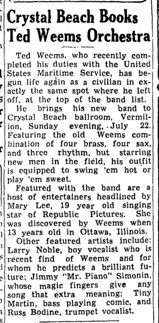 Russ Bodine - Trumpet Vocalist with the Weems orchestra Sandusky Register (OH) 20 Jul 1945 -