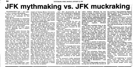 Tim Blessing on JFK-Gettysburg Times-p.17-12 Jan 1998 -