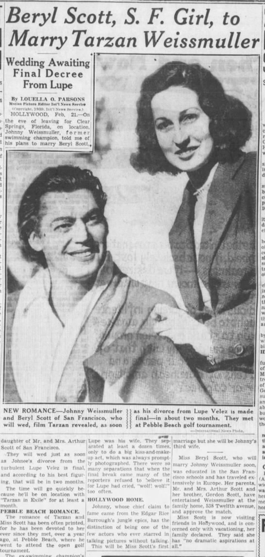Beryl Scott to marry Weissmuller -