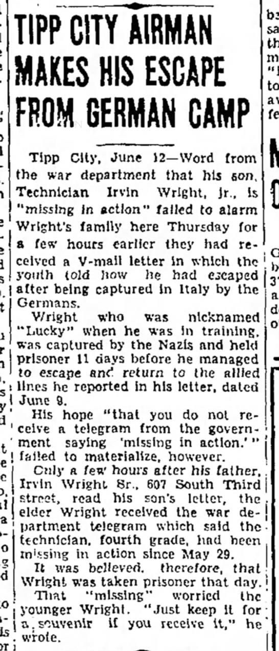 Son's letter beats erroneous telegram home: 1944 -